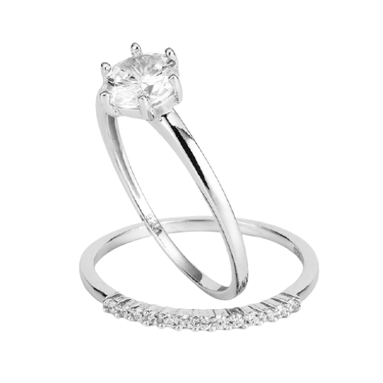 Dvojitý prsten se zirkony