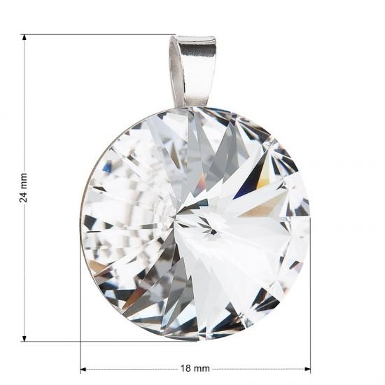 Stříbrný přívěsek s krystaly Swarovski bílý kulatý-rivoli 34071.1