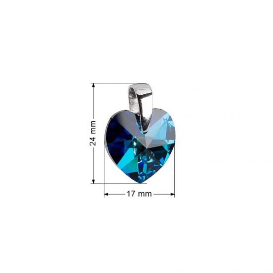 Stříbrný přívěsek s krystaly Swarovski modré srdce 34002.5