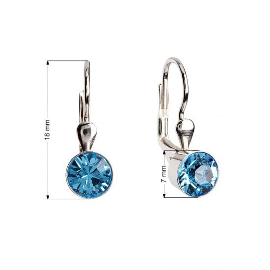 Stříbrné náušnice visací s krystaly modré kulaté 31112.3
