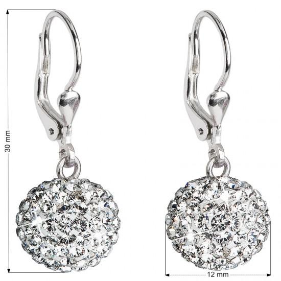 Stříbrné náušnice visací s krystaly Swarovski bílé kulaté 31109.1