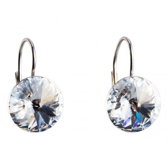 Stříbrné náušnice visací s krystaly Swarovski bílé kulaté 31106.1