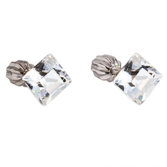 Stříbrné náušnice pecka s krystaly Swarovski bílý čtverec 31065.1