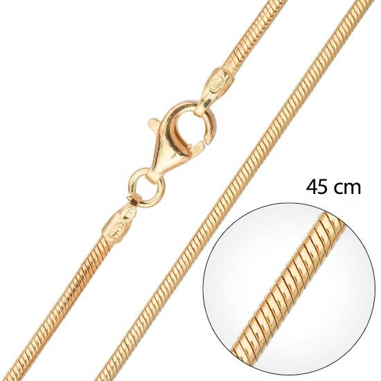 Stříbrný pozlacený řetízek kulatý délka 45 cm 30003