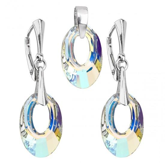 Sada šperků s krystaly Swarovski náušnice a přívěsek AB efekt ovál 39082.2