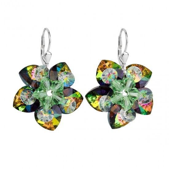Stříbrné náušnice visací s krystaly Swarovski zelená kytička 31130.4