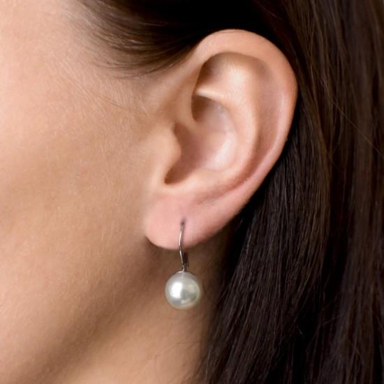 Stříbrné náušnice visací s perlou Swarovski bílé kulaté 31143.1