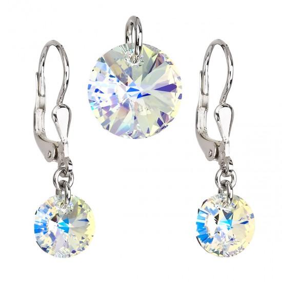 Sada šperků s krystaly Swarovski náušnice a přívěsek AB efekt kulaté 39090.2