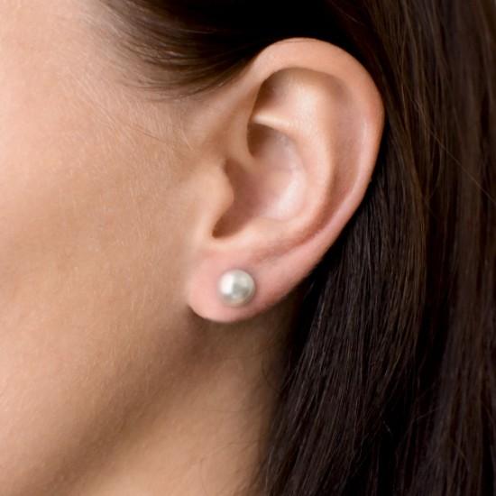 Stříbrné náušnice pecka s perlou Swarovski bílé kulaté 31142.1