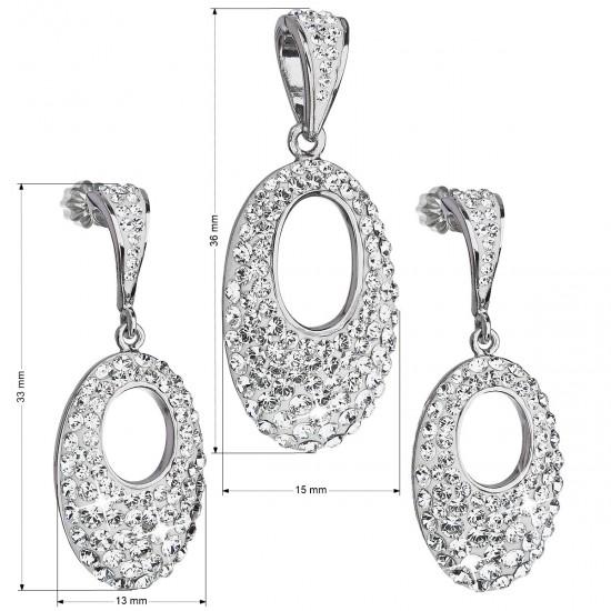 Sada šperků s krystaly Swarovski náušnice a přívěsek bílý ovál 39075.1