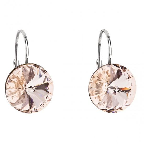 Stříbrné náušnice visací s krystaly Swarovski hnnědé kulaté 31106.SILK