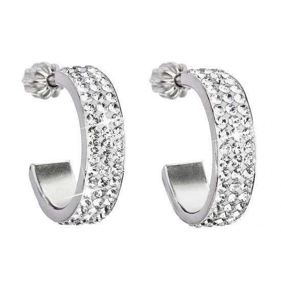 Stříbrné náušnice kruhy s krystaly Swarovski bílý půlkruh 31119.1