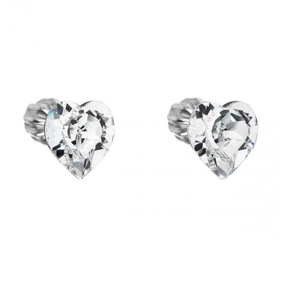 Stříbrné náušnice pecka s krystaly Swarovski bílé srdce 31139.1