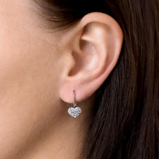 Stříbrné náušnice visací s krystaly Swarovski fialové srdce 31125.3