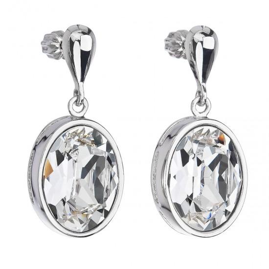Stříbrné náušnice visací s krystaly Swarovski bílý ovál 31166.1