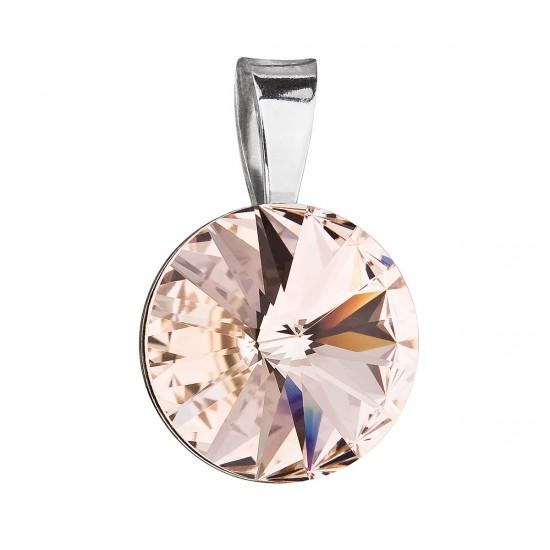 Stříbrný přívěsek s krystaly Swarovski hnědý kulatý-rivoli 34112.3
