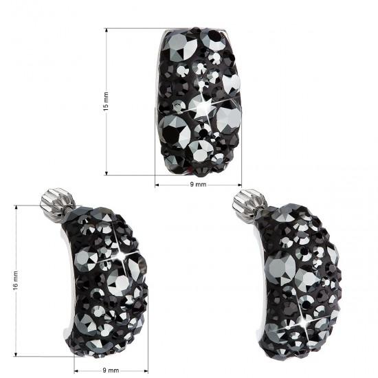 Sada šperků s krystaly Swarovski náušnice a přívěsek černý obdélník 39116.5