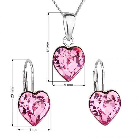 Sada šperků s krystaly Swarovski náušnice, řetízek a přívěsek růžové srdce 39141.3
