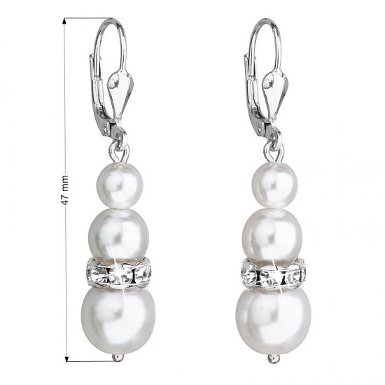 Stříbrné náušnice visací se syntetickými perlami a krystaly Swarovski bílé kulaté 31150.1