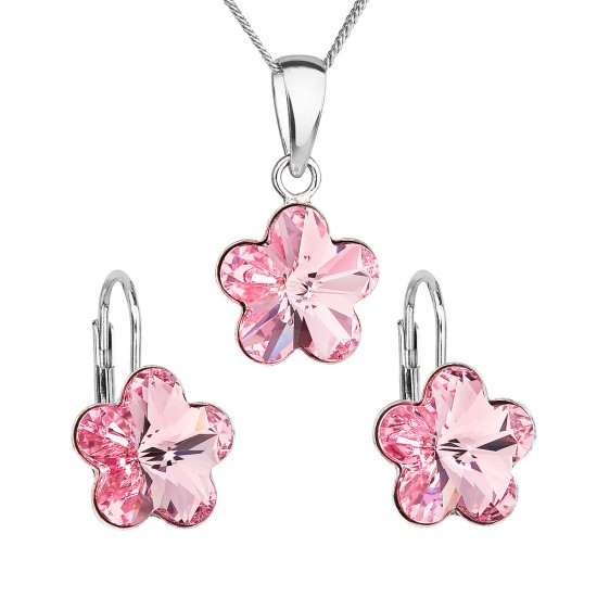 Sada šperků s krystaly Swarovski náušnice, řetízek a přívěsek růžová kytička 39143.3 rose