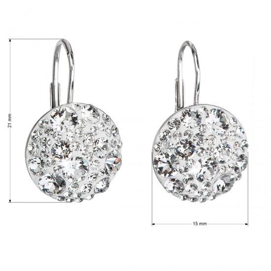 Stříbrné náušnice visací s krystaly Swarovski bílé kulaté 31176.1