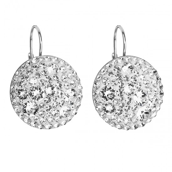 Stříbrné náušnice visací s krystaly Swarovski bílé kulaté 31161.1