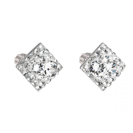 Stříbrné náušnice pecka s krystaly Swarovski bílý kosočtverec 31169.1
