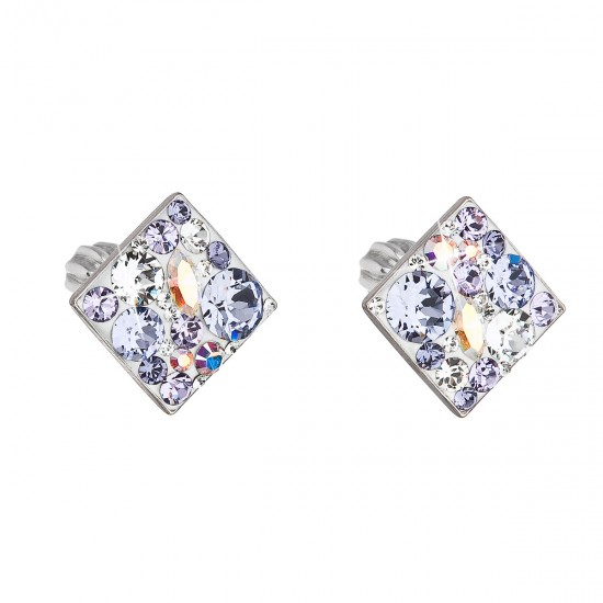 Stříbrné náušnice pecka s krystaly Swarovski fialový kosočtverec 31169.3