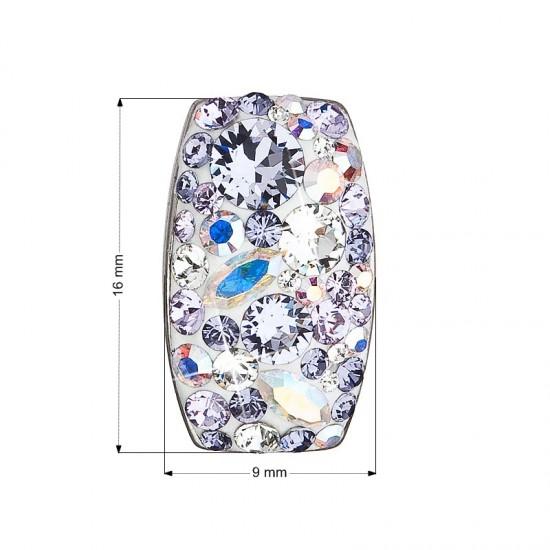Stříbrný přívěsek s krystaly Swarovski fialový obdélník 34194.3