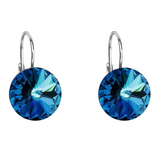 Stříbrné náušnice visací s krystaly Swarovski modré kulaté 31106.5