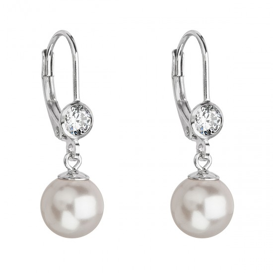 Stříbrné náušnice visací s perlou Swarovski bílé kulaté 31196.1