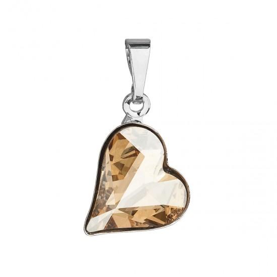 Přívěsek bižuterie se Swarovski krystaly zlaté srdce 54033.5