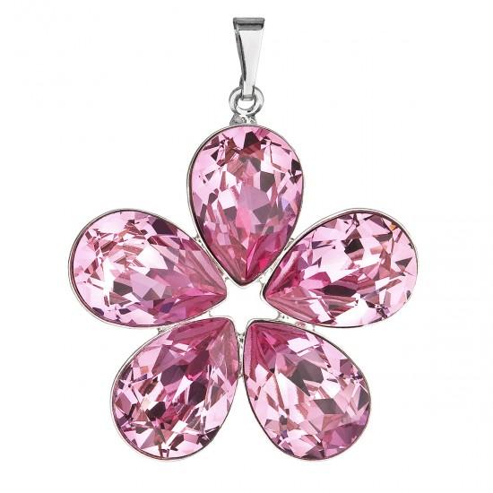 Přívěsek bižuterie se Swarovski krystaly růžová kytička 54037.3