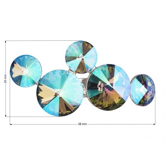 Brož bižuterie se Swarovski krystaly zelená fialová kulatá 58001.5