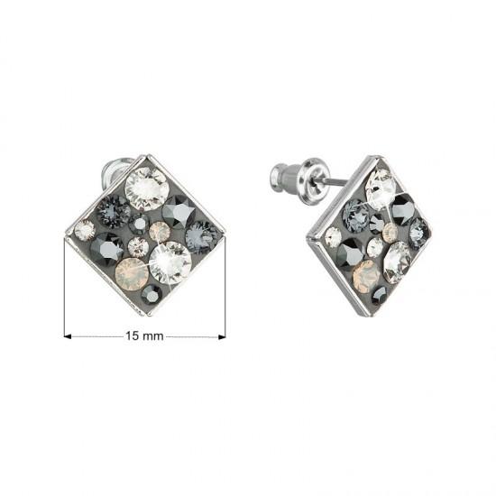Náušnice bižuterie se Swarovski krystaly šedé kosočtverec 51032.5