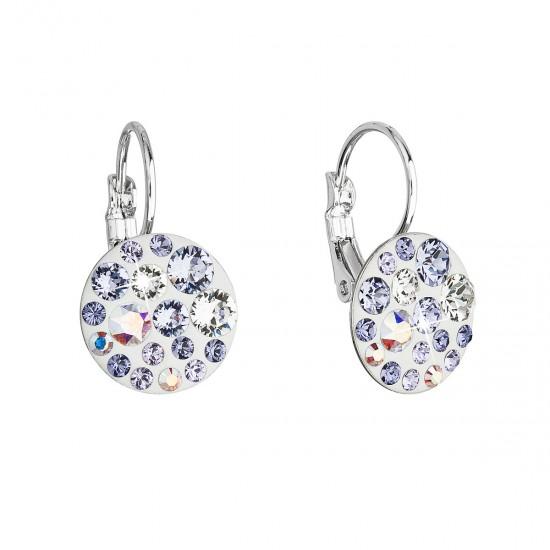 Náušnice bižuterie se Swarovski krystaly fialové kulaté 51035.3 violet