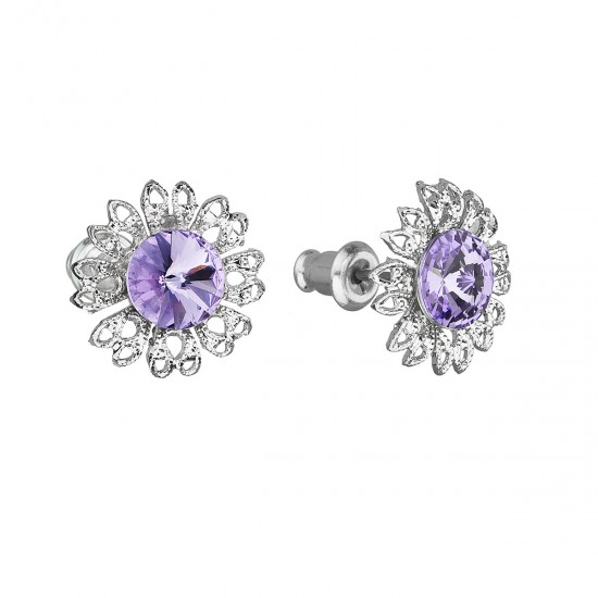 Náušnice bižuterie se Swarovski krystaly fialová kytička 51042.3