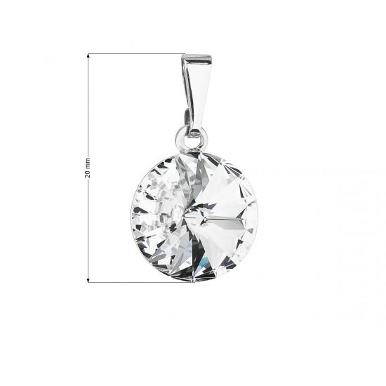 Přívěsek bižuterie se Swarovski krystaly bílý kulatý 54001.1