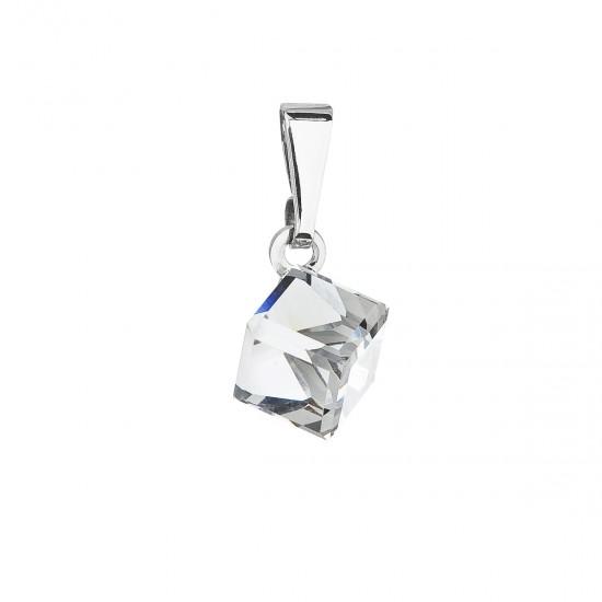 Přívěsek bižuterie se Swarovski krystaly bílá kostička 54019.1