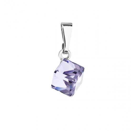 Přívěsek bižuterie se Swarovski krystaly fialová kostička 54019.3