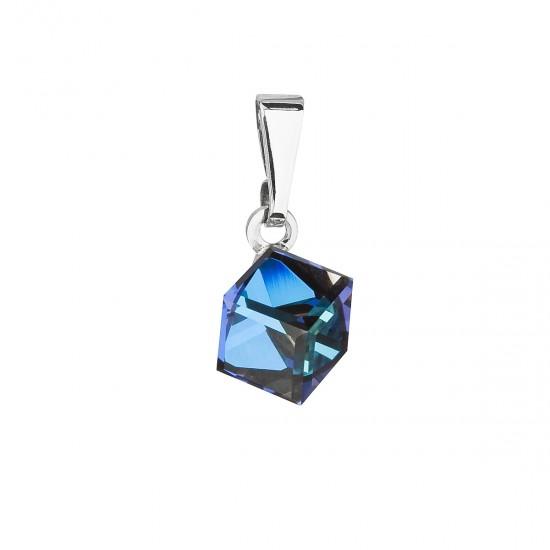 Přívěsek bižuterie se Swarovski krystaly modrá kostička 54019.5
