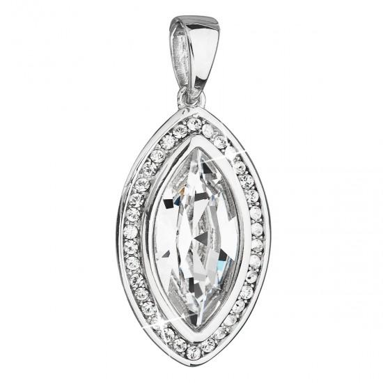 Stříbrný přívěsek s krystaly Swarovski bílý ovál 34199.1