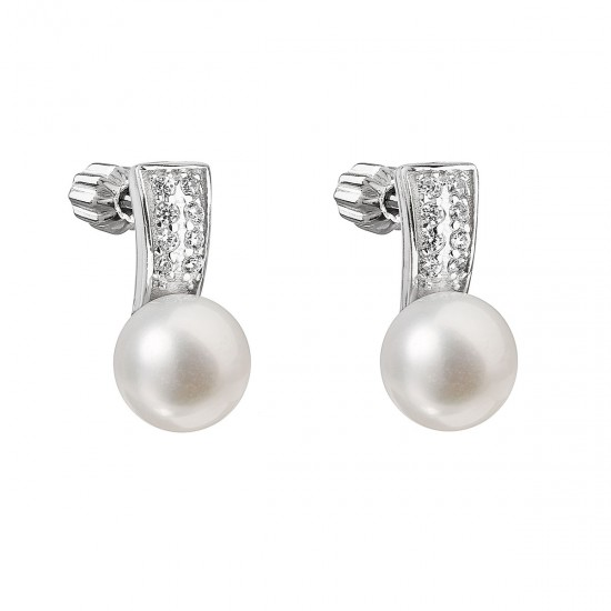 Stříbrné náušnice visací s bílou říční perlou 21001.1