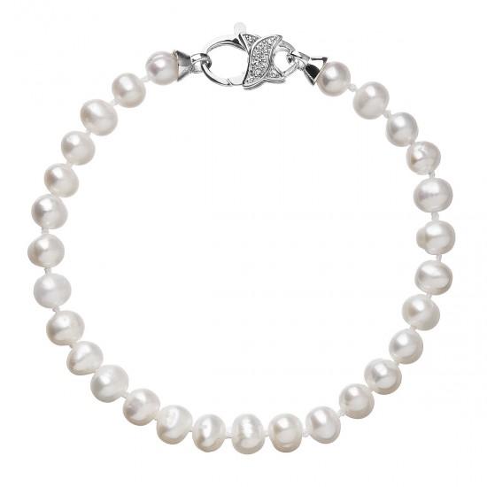 Perlový náramek z pravých říčních perel bílý 23002.3