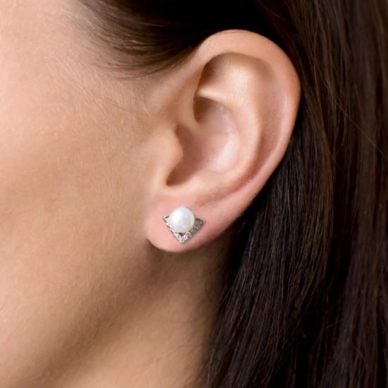 Stříbrné náušnice pecky s bílou říční perlou 21012.1