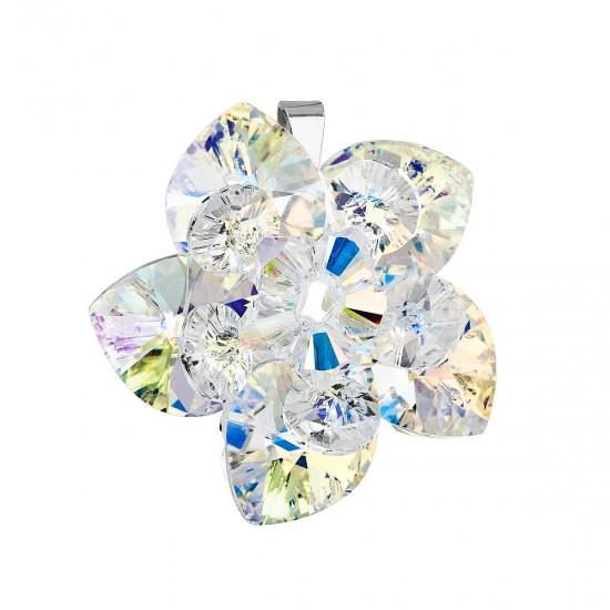 Stříbrný přívěsek s krystalem Swarovski AB efekt květina 34072.2