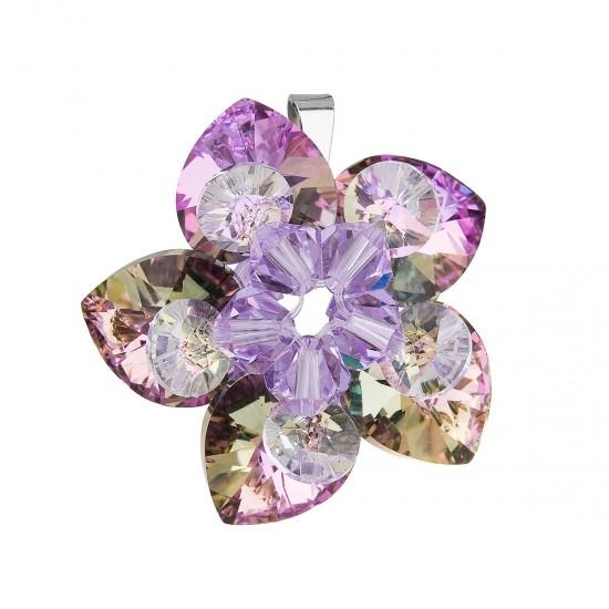 Stříbrný přívěsek s krystalem Swarovskifialová květina 34072.5