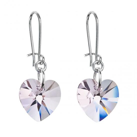 Náušnice bižuterie se Swarovski krystaly růžová srdce 56001.3 rose