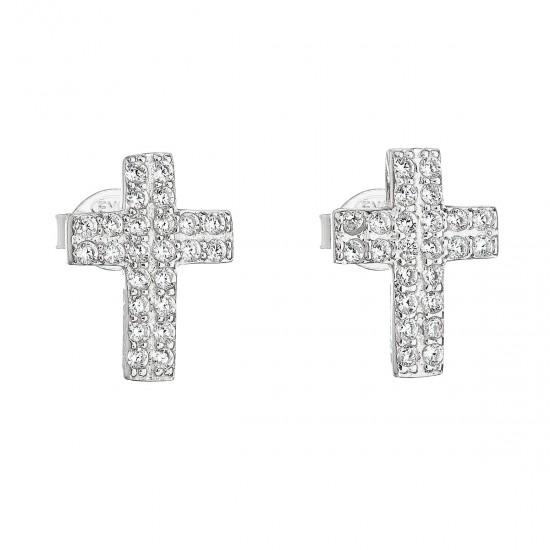 Stříbrné náušnice pecka se zirkonem bílý křížek 11068.1