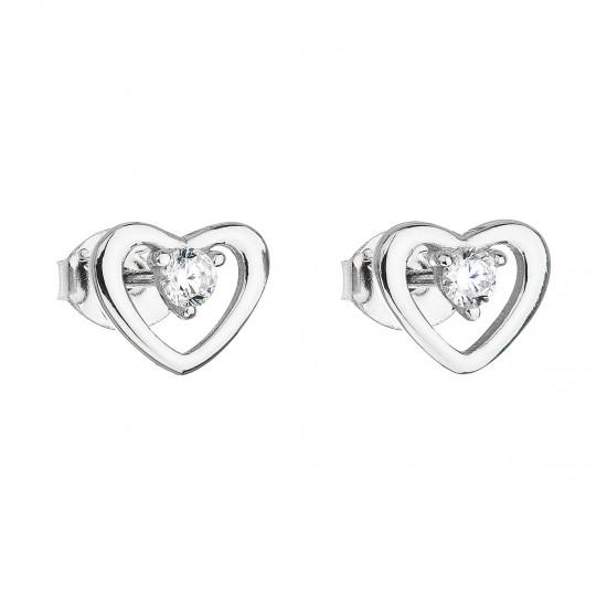 Stříbrné náušnice pecka se zirkonem bílé srdce 11091.1